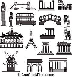 Travel landmark black icons set - World travel famous places...