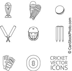 Cricket icons set black outline - Cricket equipment icons...