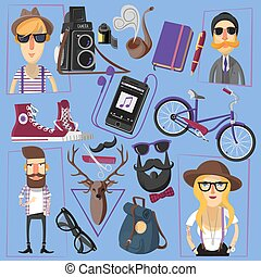 Hipster flat icons composition poster - Casually and...