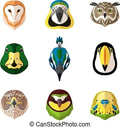 Wild Bird Set - Wild bird front portrait set with owl parrot...