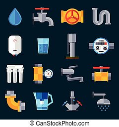 Water Supply Icons - Water supply icons set with bathroom...