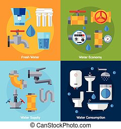 Water Supply Set - Water supply design concept set with...