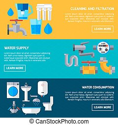 Water Supply Banners - Water supply economy and consumption...