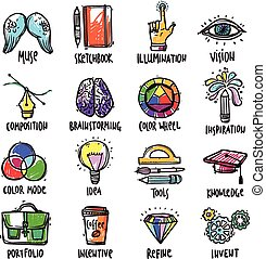 Creative Process Icons Set - Creative process hand drawn...