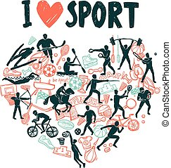 Love Sport Concept - Love sport concept with hand drawn...