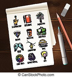 Notebook With Creative Process Sketches - Notebook with...