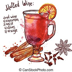 Mulled Wine Set - Mulled wine set with glass of drink and...