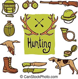 Hunting Icons Set - Hunting hand drawn icons set with dog...