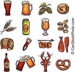 Beer Sketch Set - Beer sketch set with drink glass bottle...