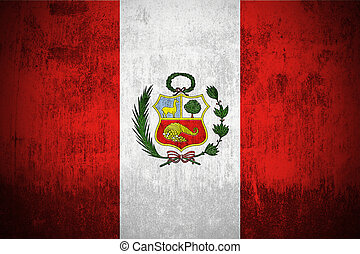 Grunge Flag Of Peru - Weathered Flag Of Peru, fabric...