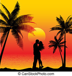 couple kissing on beach - Silhouette of a couple kissing on...