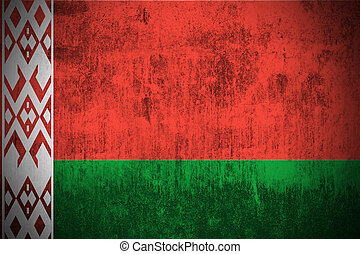 Grunge Flag Of Belarus - Weathered Flag Of Belarus, fabric...