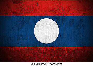 Grunge Flag Of Laos - Weathered Flag Of Laos, fabric...