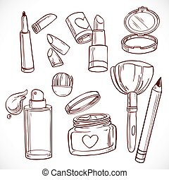 Set of doodles on cosmetics 2