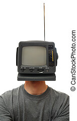 Television Head - A miniature TV screen on a person\'s head....