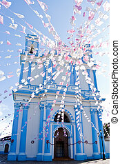 Mexican blue Church. Santa Lucia\'s Church.