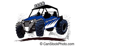 Off road Side by Side - vector drawing of off road side by...