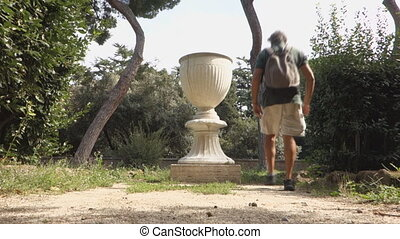 caelian hill vase - big vase at the Villa Celimontana public...