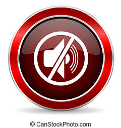 mute red circle glossy web icon, round button with metallic border