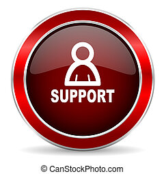 support red circle glossy web icon, round button with metallic border