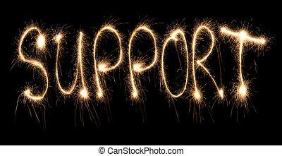 Word support written sparkler