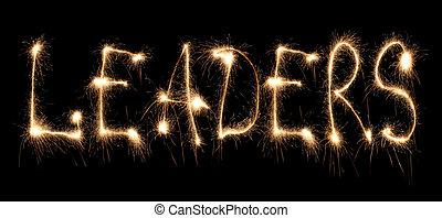 Word leaders written sparkler
