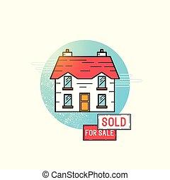 Moving Home Icon Vector. A detached house with for sale and...