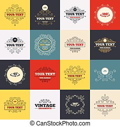 Angle degrees icons Geometry math signs - Vintage frames,...