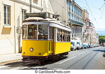 Lisbon tram - Vintage tram in the city center of Lisbon...