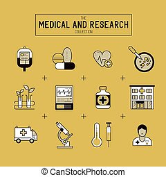 Medical and Research Icon Set A collection of gold medical...