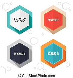 Programmer coder glasses HTML markup language - Hexagon...