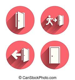 Doors signs. Emergency exit with arrow symbol. - Doors...