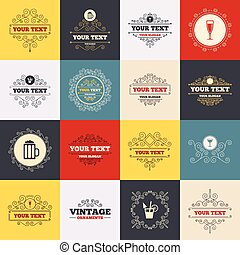 Alcoholic drinks signs. Champagne, beer icons. - Vintage...
