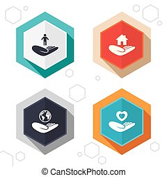 Helping hands icons. Protection and insurance. - Hexagon...
