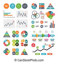 Hand icons Handshake and click here symbols - Business data...