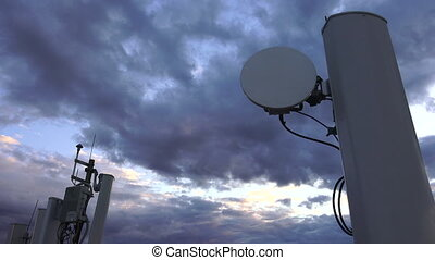 Antennas and transponders on the roof 4K - Antennas and...