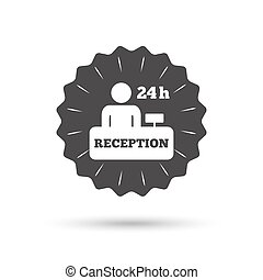 Reception sign icon Hotel registration table - Vintage...