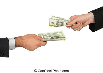 Two hands with dollars