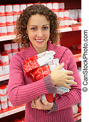 woman with products in shop