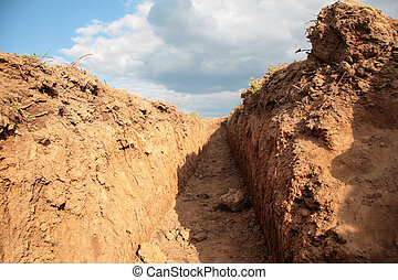 Trench in earth