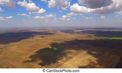 Aerial Panorama Of Agricultural Fields At Cloudscape - PAN:...