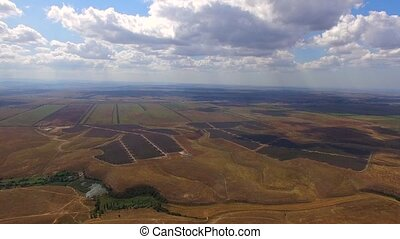 Line Solar Power Stations At Rural Fields - PANORAMIC:...