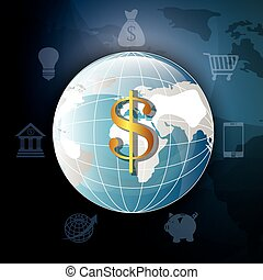 Global economy and market design, vector illustration
