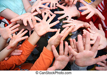 Children`s hands with spread fingers