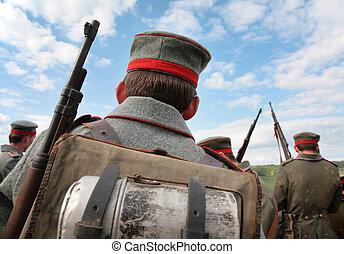 atrás de, soldados, mostrar, primeiro, mundo, guerra