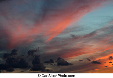Foreboding Dark Sunset - Foreboding colorful sunset with...