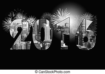 Chicago New Year 2016 - Chicago city with fireworks for New...