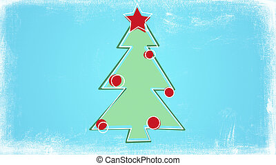 childs drawing style christmas tree illustration