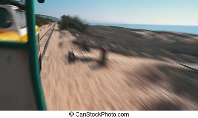 View Forward from the Beach Railway Wagon, motion blur