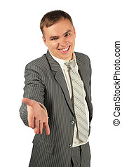 Man stretches hand on a white background